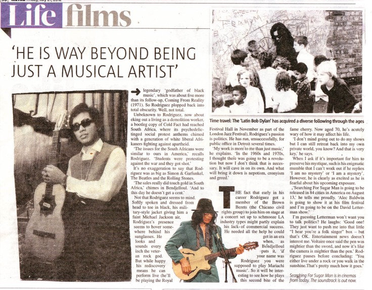 Searching For Sugar Man Feature - Metro - 27 July 2012