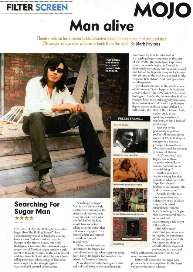 Searching For Sugar Man - Mojo - Film Review - August 2012
