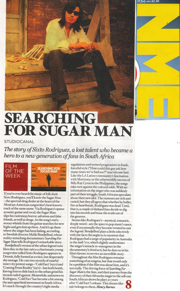 Sixto Rodriguez - NME - Film of the Week - 25 July 2012