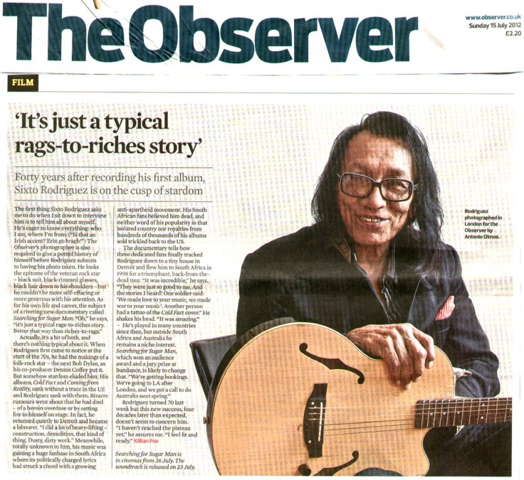 Rodriguez - The Observer - Searching For Sugar Man Feature - 15 July 2012
