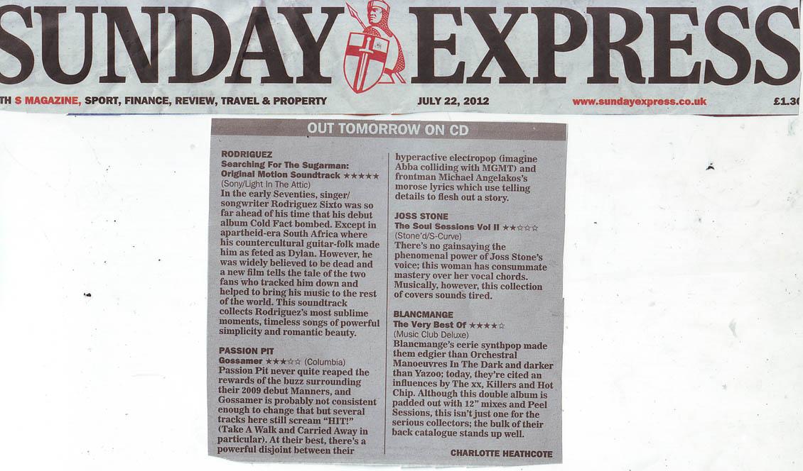 Sunday Express Soundtrack Review 5 Stars 22 July 2012 Blog