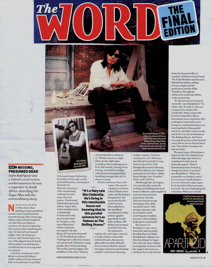 Rodriguez - Word - Searching For Sugar Man Feature - August 2012