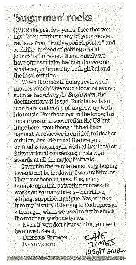 Cape Times 10 September 2012