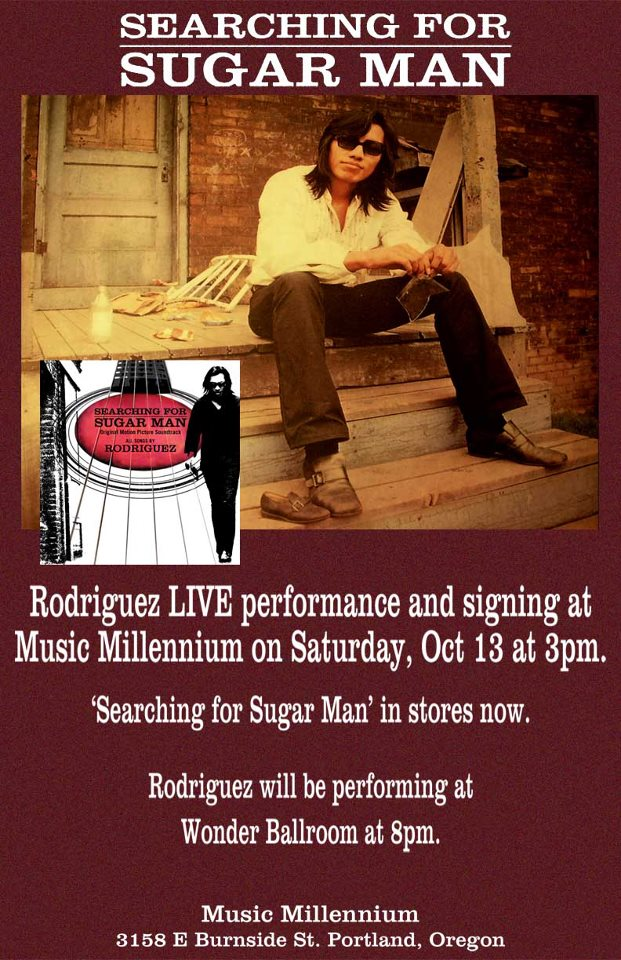 Portland, Oregon! Music Millennium will be hosting an intimate mini-acoustic set and autograph signing with Rodriguez on 10/13 at 3pm. Afterwards, be sure to catch him at the Wonder Ballroom that night for a full-band electric performance!