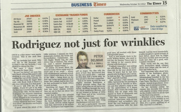Rodriguez Not Just For Wrinklies | The Times 31 October 2012