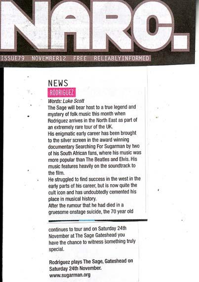 Gig Preview | Narc. November 2012