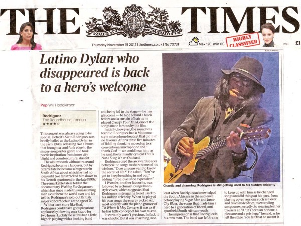 The Times - Live Review - Nov 15th 2012
