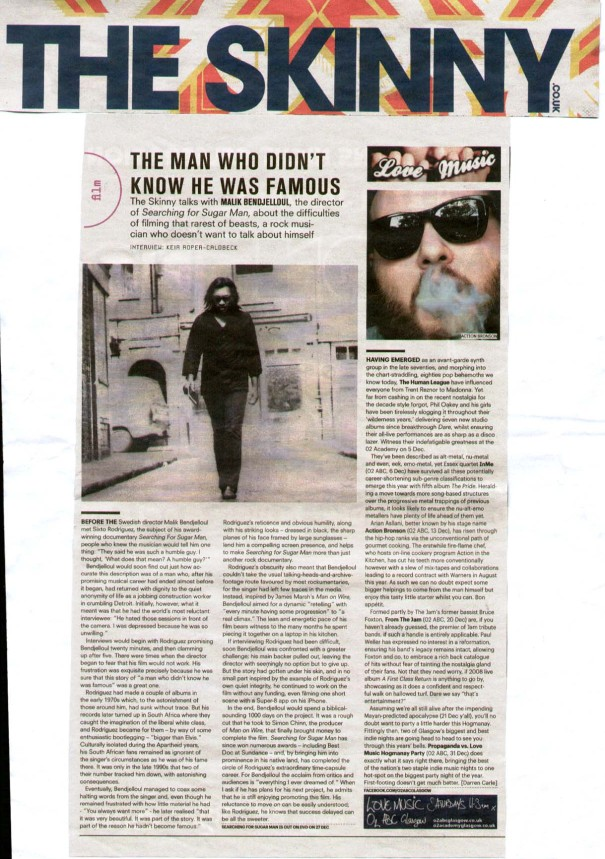 The Skinny - Searching for Sugar Man - December 2012