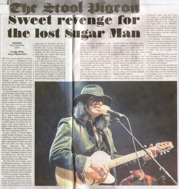 The Stool Pigeon Live Review Jan 2013