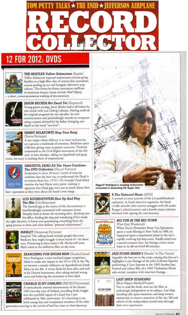Record Collector - Top 12 For 2012 DVD - January 2013