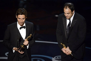 Malik Bendjelloul and Simon Chinn accept the Best Documentary Feature award for Searching for Sugar Man. Getty Images
