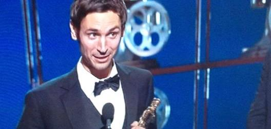 Malik Bendjelloul receiving an Oscar for Searching For Sugar Man