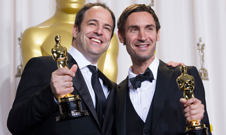 Simon Chinn, left, and Searching for Sugar Man's director Malik Bendjelloul with their Oscars. Photograph: Xinhua/Landov/Barcroft Media