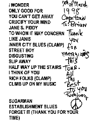 Set List 7th March 1998