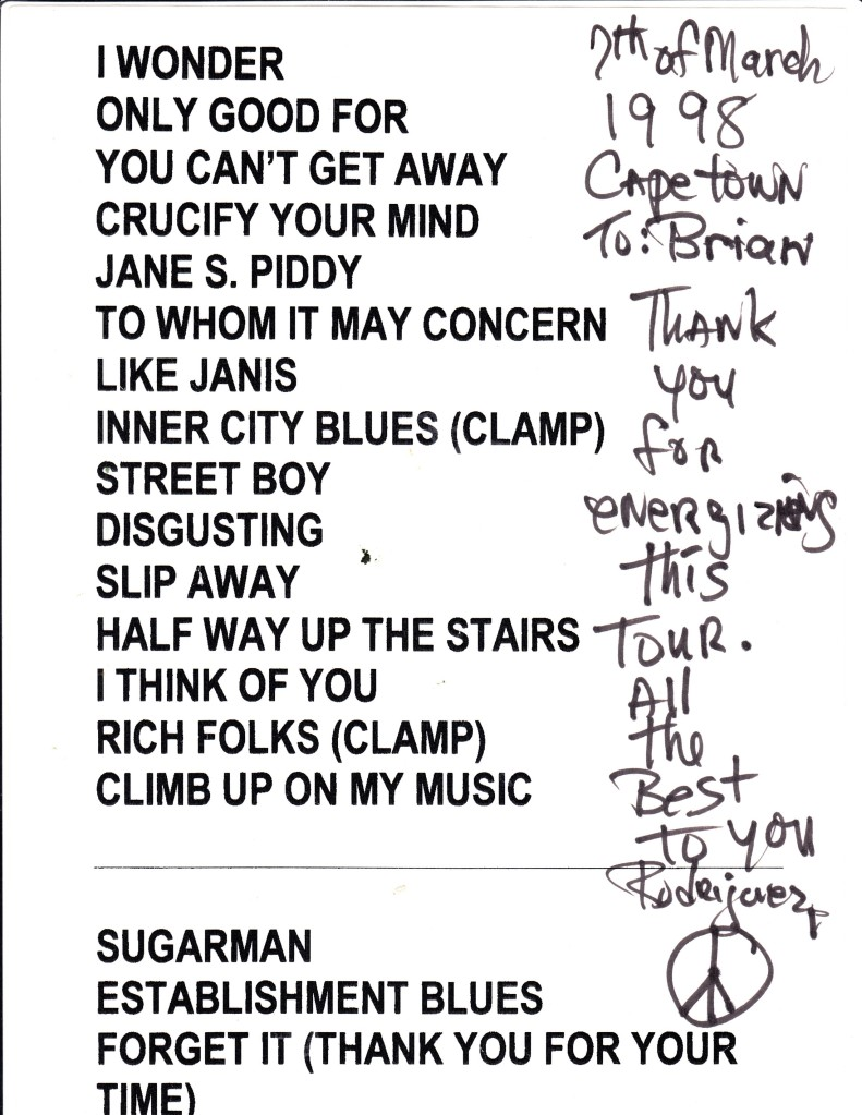 Set List 7 March 1998