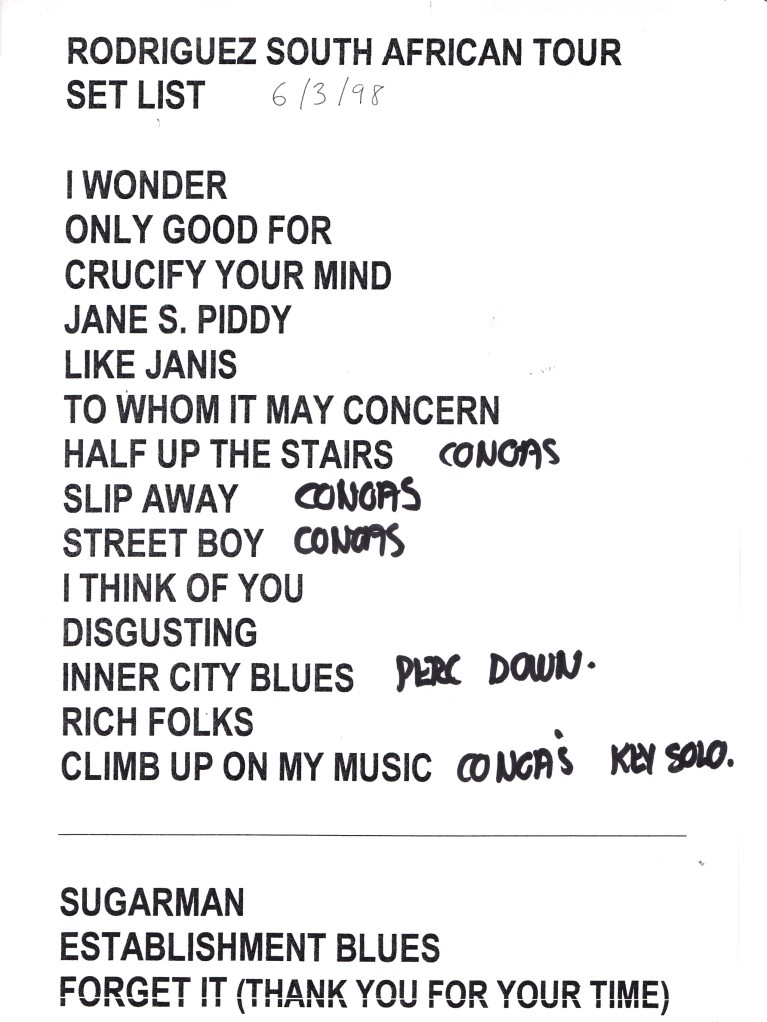 Set List 6 March 1998
