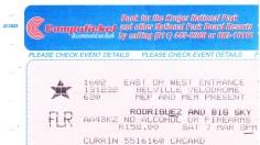 Ticket 7 March 1998