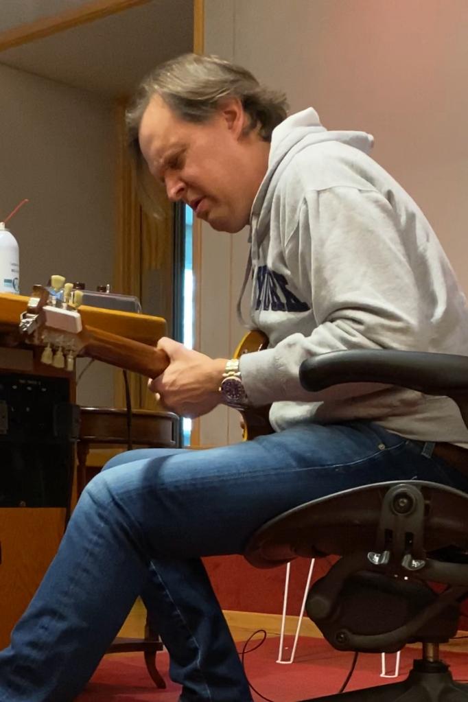 "Joe Bonamassa, Nashville, TN, March 2020. Laying down guitar solo on ""Wind In Your Hair"" | Credit: Steve Louw"